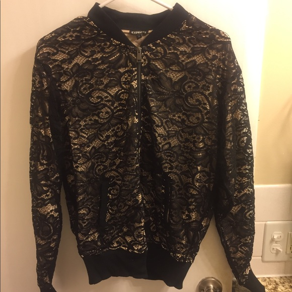 0f4ea6ad3 Black lace overlay bomber jacket NWT